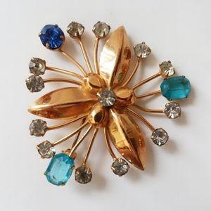Vintage Gold Filled Blue Rhinestones Flower Brooch